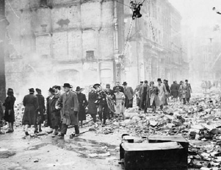 The Blitz damaged the theatre