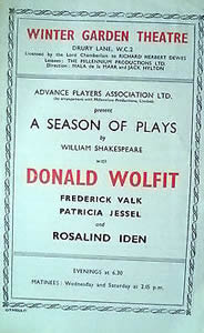 Winter Garden Theatre hosts a Donald Wolfit season