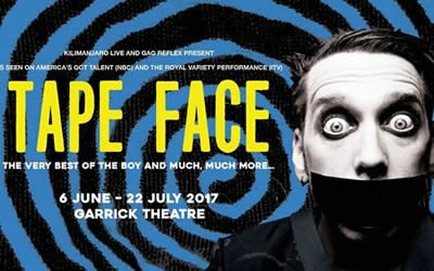Tape Face entertains audiences at the Garrick